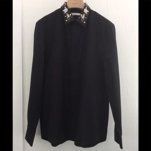 Givenchy button up with floral/Perl collar shirt